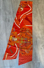 Hermes - New - Maxi Twilly Long Scarf Silk 20x 220cm Orange Bouquets Selliers