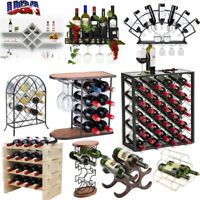 Metal Wood Wine Bottle Rack Cellar Storage Organizer Display Shelf Wall/Tabletop