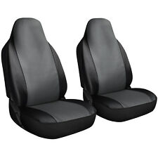 Seat Cover Set Front Integrated Bucket for Car Truck SUV - 2pc Gray & Black
