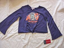 American Girl Doll Tenney Girl's Shirt Blue Knit Crop Music Notes Flowers Size M