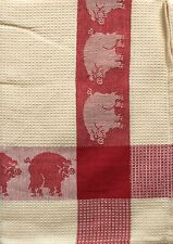 Pig Kitchen Towel | Cotton Waffle Weave | Red Ivory | Pictorial