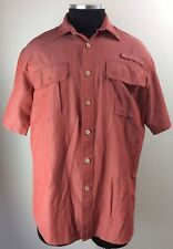 GH Bass & Co Vented Short Sleeve Blue Fishing Shirt - Size Large L/G