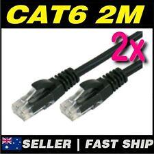 2 x 2m Black Cat 6 Cat6 1000Mbps Premium RJ45 Ethernet Network LAN Patch Cable