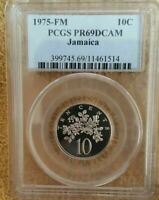 PCGS PR 69 1975-FM Jamaica 10 Cents Population of 4 EXTREMELY RARE COIN