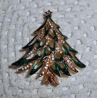Vintage Green Enamel Clear Rhinestone Christmas Tree Brooch Pin   C27