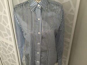 ELLEN TRACY / Linda Allard 100% Silk Blue & White Pin Stripe Blouse Size 4