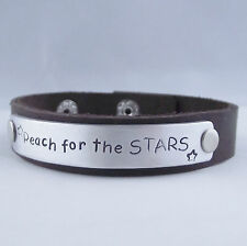 "Real Leather Bracelet Handmade Inspirational ""reach for The Stars"" Statement"