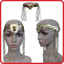 GOLDEN SEQUINS CIRCLET HEADBAND+JEWEL+BEADS-CLEOPATRA QUEEN EGYPTIAN HEADDRESS