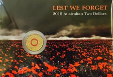 2015 $2 LEST WE FORGET COLOURED Coin on Card