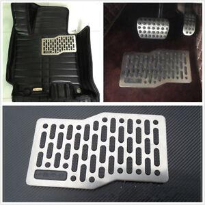 Stainless Steel Car Floor Heel Plate Pedal Carpet Pad Non-slip Foot Rest Mat x1