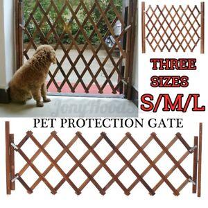 Pet Dog Baby Gate Wooden Fence Folding Protection Indoor Barrier Expanding Door