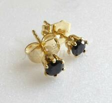 Black 4mm 14K Yellow Gold Plated Simulated Diamond Unisex Small Stud Earrings