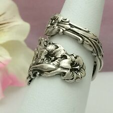Sterling Silver Spoon Ring LILY Size 7 (to 12) Silverware Jewelry,1902 Antique