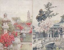 2 OLD POSTCARD RAPHAEL TUCK ARTIST JAPAN EXHIBITION TH552
