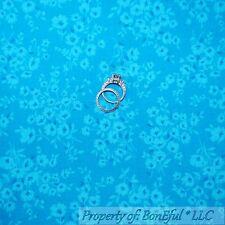 BonEful FABRIC Cotton Quilt Aqua Blue Dot Tone Flower Shabby Chic Cottage SCRAP