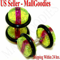 0878 Fake Cheaters Faux Illusion Plugs 16G Green-Purple-Gre Glitter 0G 8mm PAIR
