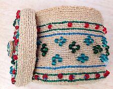 Aleut Alaska Native Basket PRIMO! W/ Red, Green and Blue Beading RARE!