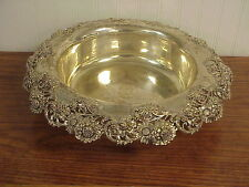 """OrnateTheodore B Starr Sterling Silver Centerpiece Bowl 17.5"""" Floral Reticulated"""