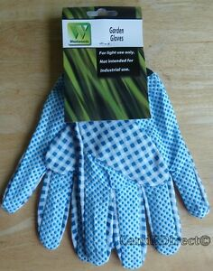 Westwoods One Size Light Use Gardening Work Gloves Blue & White Check Design NEW