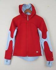 Women Nike Sphere Running Thermal hooded Jacket Red Grey Size S M Warm Zip Up