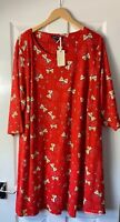 SIMPLY BE CAPSULE RED PARTY PRINT T-SHIRT DRESS UK 30 NEW TUNIC