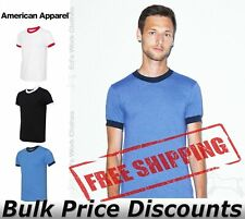American Apparel Unisex Slim fit 50/50 Cotton T Shirt Ringer Tee BB410W up to XL