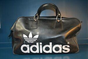 Vintage 1970's Adidas Peter Black large hold all sports vinyl bag needs repair