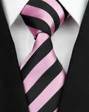 Light Pink And Black Striped Silk Classic Woven Horse Show Tie *New*