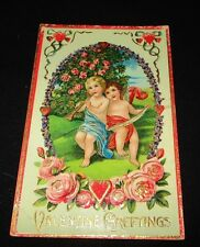 VINTAGE VALENTINES DAY CARD POSTCARD POSTED 1911 ADRIAN MICHIGAN NICE CUPID !!