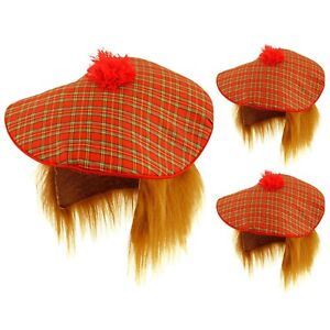 SCOTTISH TAM O SHANTER JOB LOT FANCY DRESS HAT WITH WIG TARTAN BURN OUT SCOTLAND