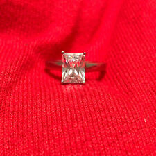 Zirconia Women's Ring Size 7.75 Sterling Silver 925 Radiant Cut Cubic