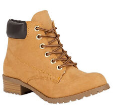 Soda Women Ankle Work Boots Beige Tan Suede Lace Up Combat Army Booties EQUITY-S