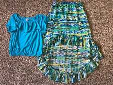 Girl's Size 10/12 Two Piece Knit Works Blue Top & Skirt (High Front Low Back)