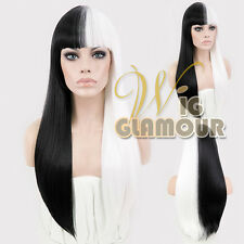 Long Straight 60cm Half Black and Half Pure White Fashion Hair Wig