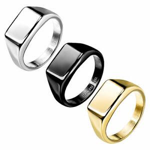 Siegelring rechteckig Edelstahl poliert Herren Damen Ring modern stylisch