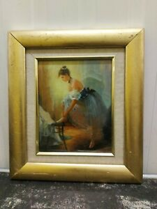 20TH CENTURY WATERCOLOUR ON CANVAS A VIEW OF BALLET DANCER BY MARIAN HARPER