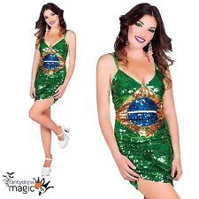 Femme Sexy Rio Jeux Olympiques Brésil Brasil Drapeau Brésilien Sequin Costume Fancy Dress