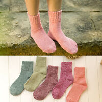 Women Wool Cashmere Thick Winter Warm Soft Solid Casual Socks Christmas Gift New