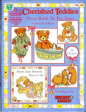 COUNTED CROSS STITCH PATTERN BOOK! CHERISHED TEDDIES FROM BIRTH TO 10 YEARS~BEAR