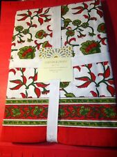 """CYNTHIA ROWLEY TABLECLOTH RED GREEN WHITE LOVELY BORDER 60"""" x 104"""" COTTON NEW!"""