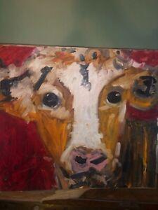 Oil/Acrylic Canvas On Board Cow