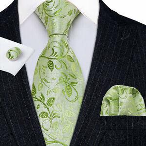 ITALIAN DESIGNER Lime Green Floral SILK TIE, HANKY, CUFFLINKS