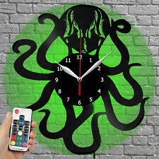 LED Clock Octopus Vinyl Record Wall Clock Led Light Wall Clock 1255