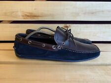 Salvatore Ferragamo Men Brown Blue Suede Leather Moccasin Sz. UK 10 2E