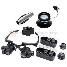 Head Magnifying Glass Illuminated Lighted Microscope Clip On Magnifier Loupe