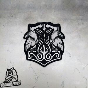 Big Back patch Thor's Hammer & Ravens Viking Mjolnir.