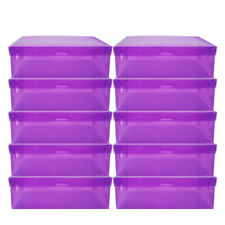 10× Purple Home Plastic Clear Shoe Boot Box Stackable Foldable Storage Organizer