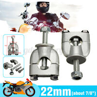 Pair 7/8'' 22mm Silver Universal Motorcycle Handle Bar Fat Bar Mount Clamp Riser