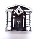 Mens Masonic Mcallen Building Ring .950 Sterling Silver