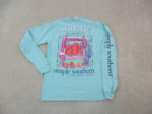 Simply Southern Shirt Womens Small Green Hello Fall Preppy Long Sleeve Ladies *